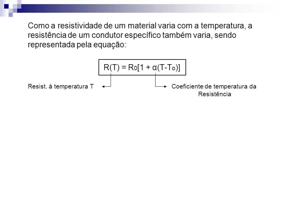 Como a resistividade de um material varia com a temperatura, a resistência de um condutor específico também varia, sendo representada pela equação: R(