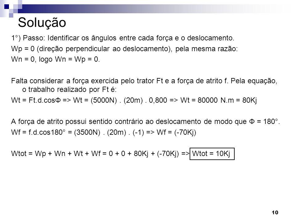 10 Solução 1°) Passo: Identificar os ângulos entre cada força e o deslocamento. Wp = 0 (direção perpendicular ao deslocamento), pela mesma razão: Wn =