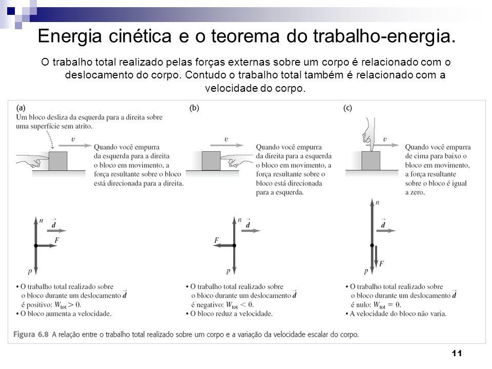 11 Energia cinética e o teorema do trabalho-energia. O trabalho total realizado pelas forças externas sobre um corpo é relacionado com o deslocamento