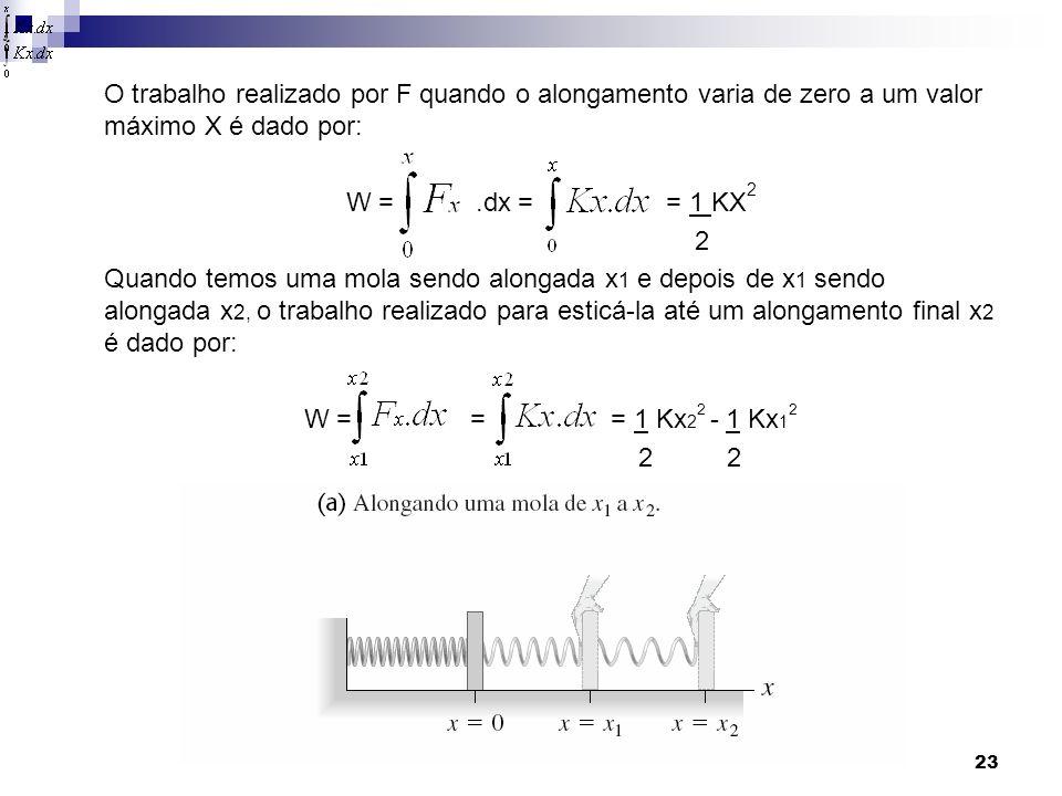 23 O trabalho realizado por F quando o alongamento varia de zero a um valor máximo X é dado por: W =.dx = = 1 KX 2 2 Quando temos uma mola sendo alongada x 1 e depois de x 1 sendo alongada x 2, o trabalho realizado para esticá-la até um alongamento final x 2 é dado por: W = = = 1 Kx 2 2 - 1 Kx 1 2 2 2