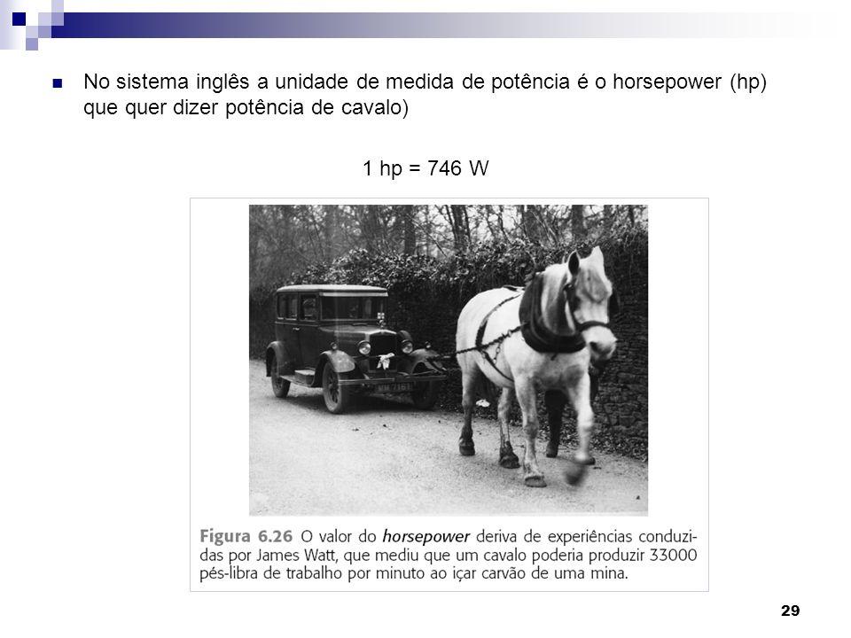 29 No sistema inglês a unidade de medida de potência é o horsepower (hp) que quer dizer potência de cavalo) 1 hp = 746 W