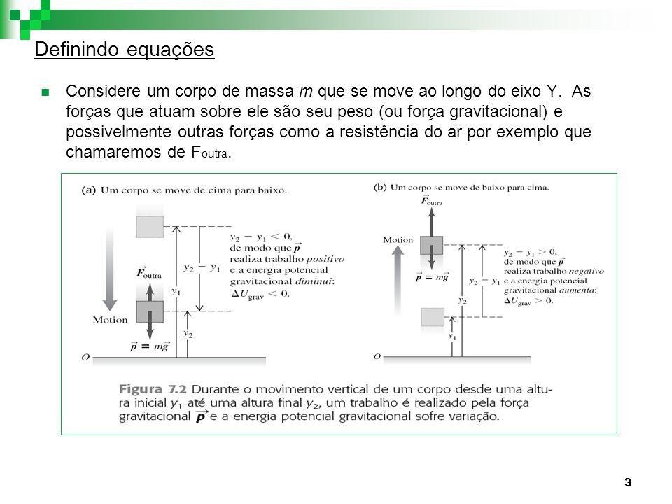 3 Definindo equações Considere um corpo de massa m que se move ao longo do eixo Y. As forças que atuam sobre ele são seu peso (ou força gravitacional)