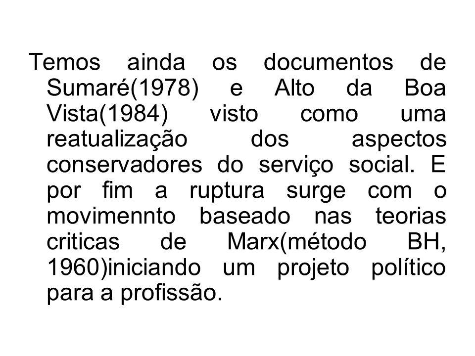 Temos ainda os documentos de Sumaré(1978) e Alto da Boa Vista(1984) visto como uma reatualização dos aspectos conservadores do serviço social. E por f