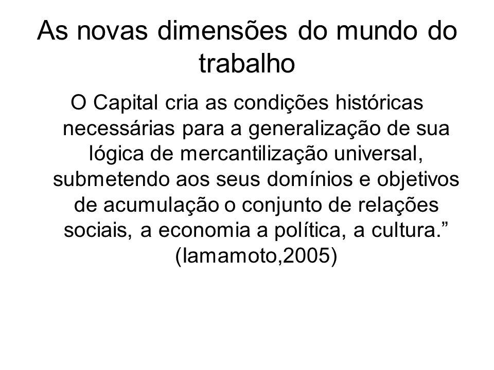As novas dimensões do mundo do trabalho O Capital cria as condições históricas necessárias para a generalização de sua lógica de mercantilização unive