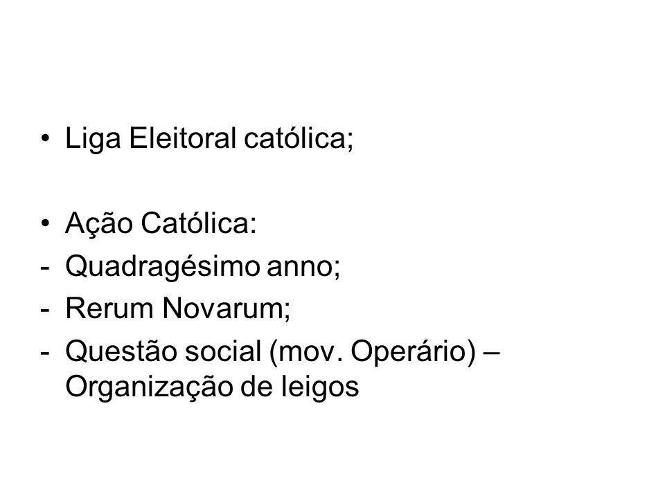 Liga Eleitoral católica; Ação Católica: -Quadragésimo anno; -Rerum Novarum; -Questão social (mov. Operário) – Organização de leigos