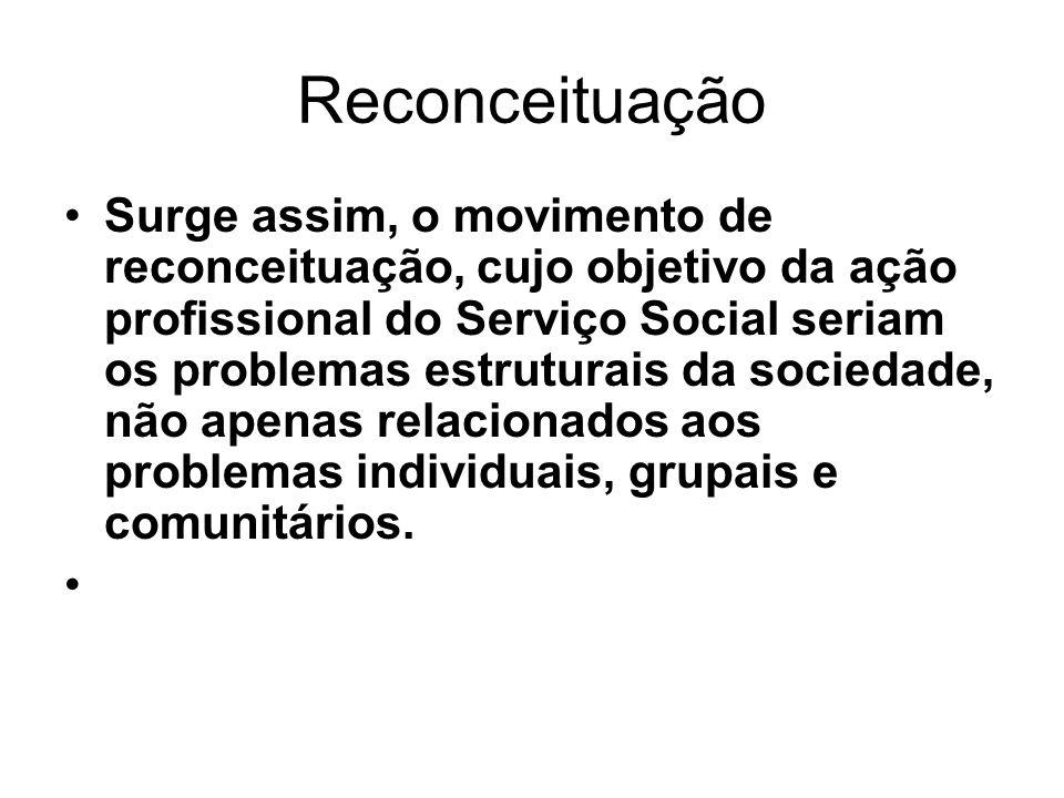 Reconceituação Surge assim, o movimento de reconceituação, cujo objetivo da ação profissional do Serviço Social seriam os problemas estruturais da soc