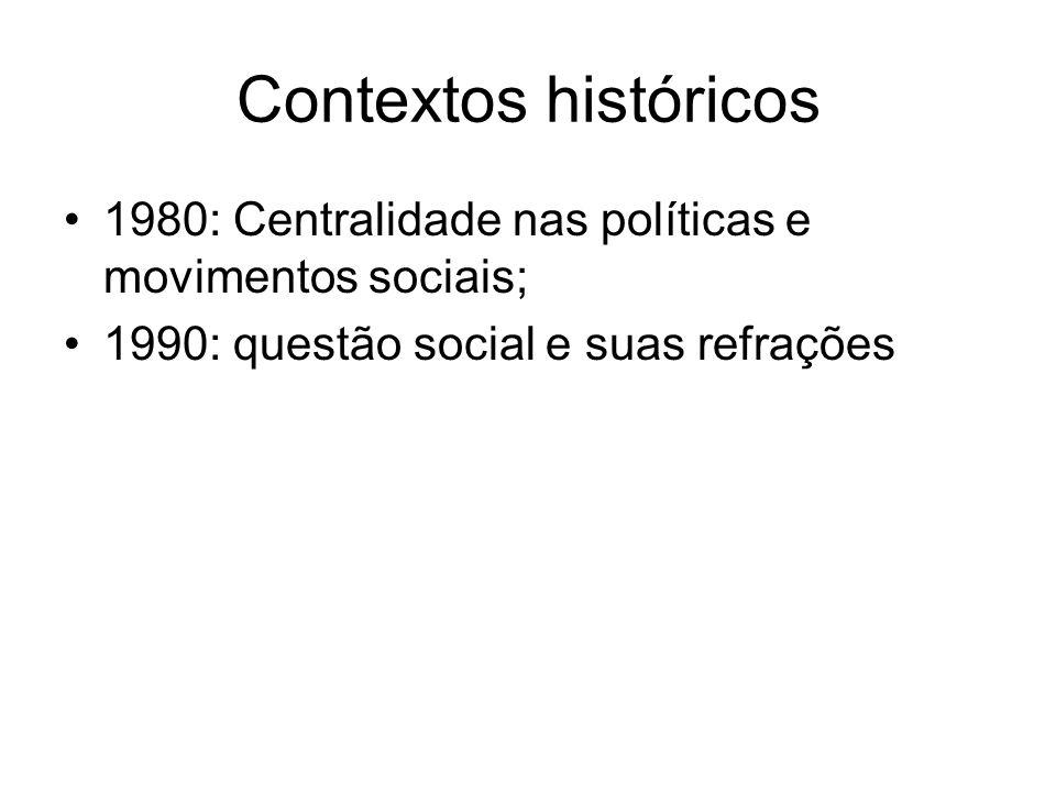 Contextos históricos 1980: Centralidade nas políticas e movimentos sociais; 1990: questão social e suas refrações