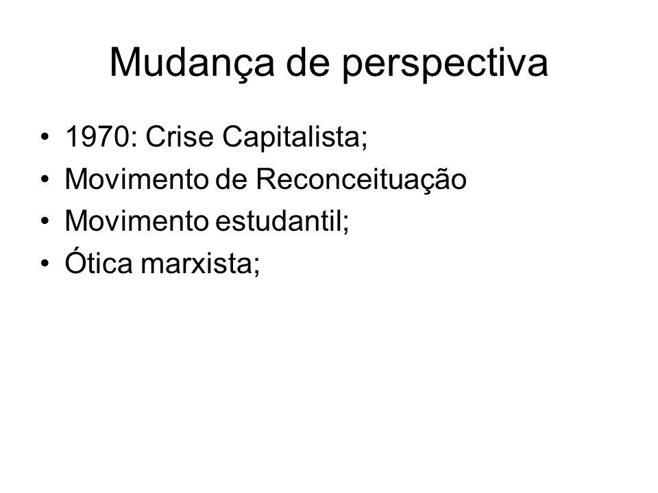 Mudança de perspectiva 1970: Crise Capitalista; Movimento de Reconceituação Movimento estudantil; Ótica marxista;
