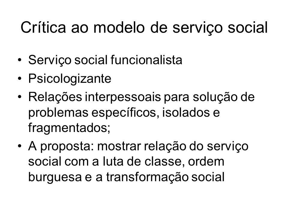 Crítica ao modelo de serviço social Serviço social funcionalista Psicologizante Relações interpessoais para solução de problemas específicos, isolados