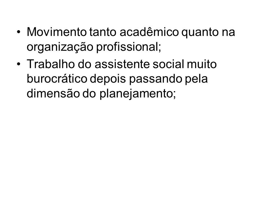 Movimento tanto acadêmico quanto na organização profissional; Trabalho do assistente social muito burocrático depois passando pela dimensão do planeja