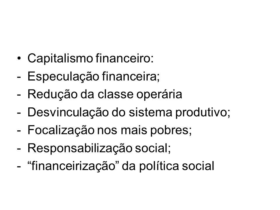 Capitalismo financeiro: -Especulação financeira; -Redução da classe operária -Desvinculação do sistema produtivo; -Focalização nos mais pobres; -Respo