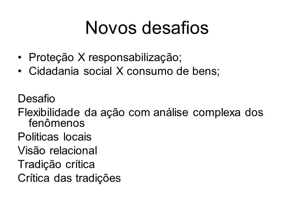 Novos desafios Proteção X responsabilização; Cidadania social X consumo de bens; Desafio Flexibilidade da ação com análise complexa dos fenômenos Poli