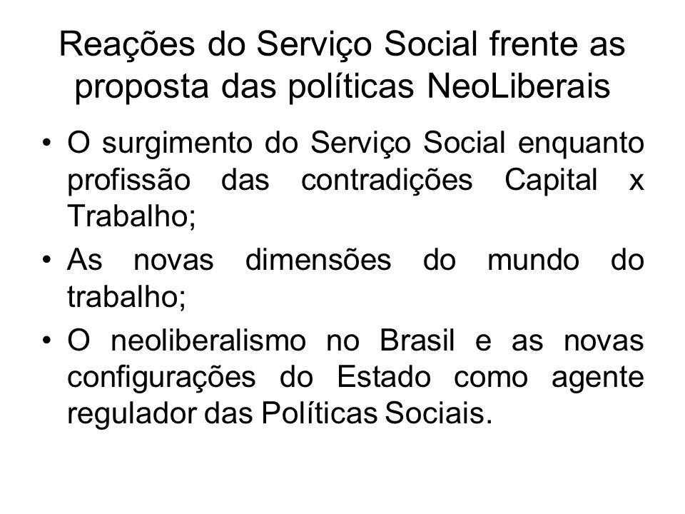 Reações do Serviço Social frente as proposta das políticas NeoLiberais O surgimento do Serviço Social enquanto profissão das contradições Capital x Tr