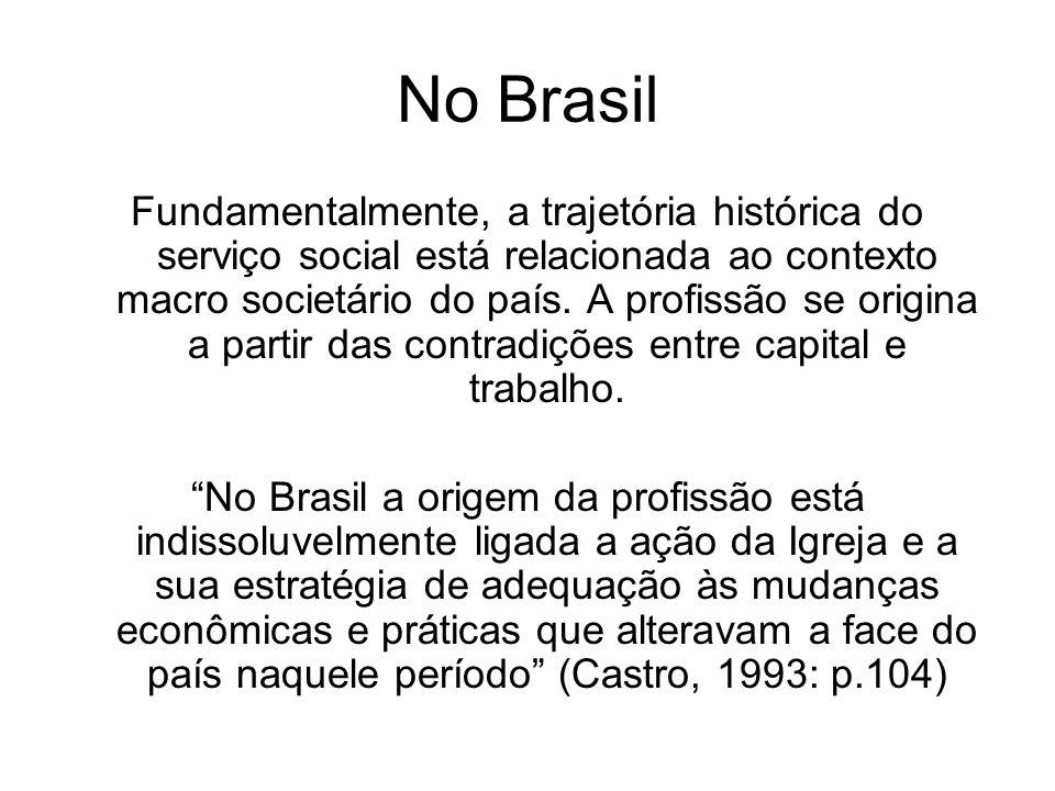 No Brasil Fundamentalmente, a trajetória histórica do serviço social está relacionada ao contexto macro societário do país. A profissão se origina a p