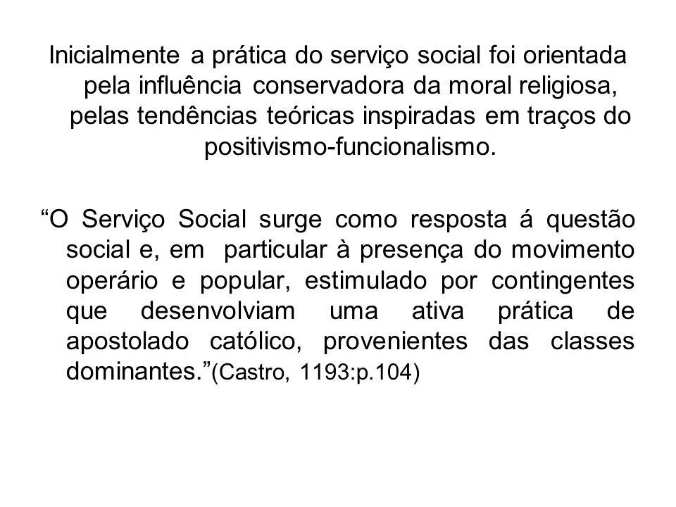 Inicialmente a prática do serviço social foi orientada pela influência conservadora da moral religiosa, pelas tendências teóricas inspiradas em traços