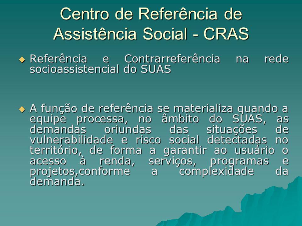 Centro de Referência de Assistência Social - CRAS Referência e Contrarreferência na rede socioassistencial do SUAS Referência e Contrarreferência na r