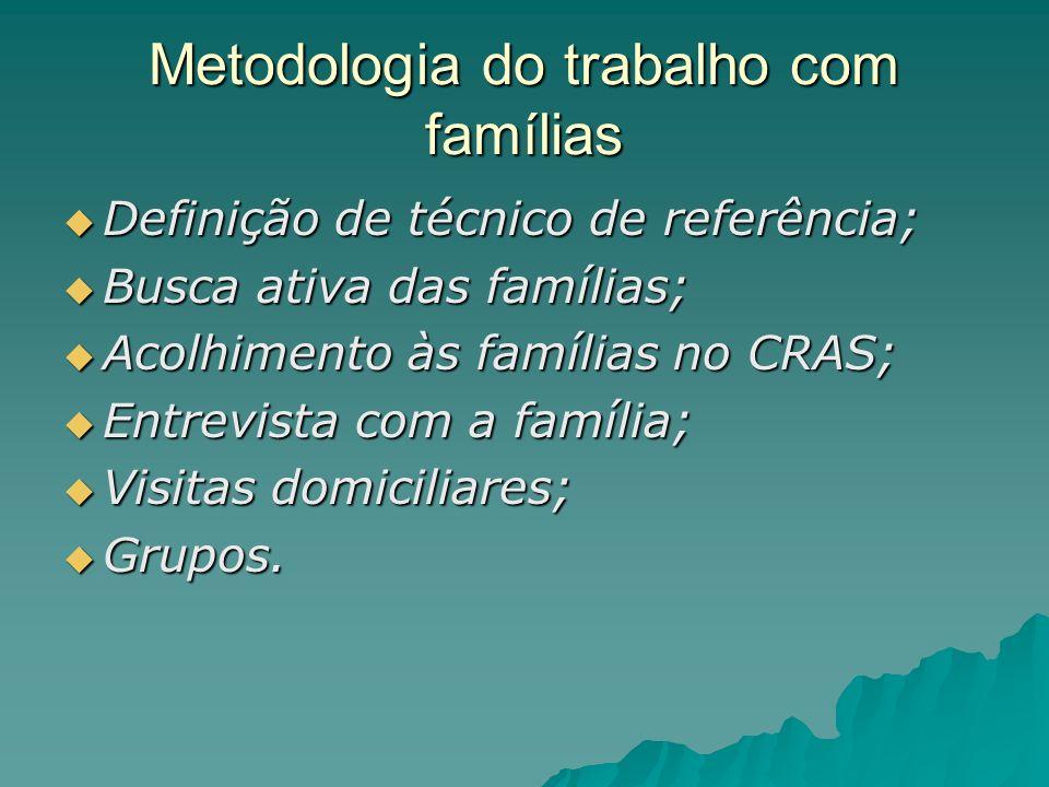 Metodologia do trabalho com famílias Definição de técnico de referência; Definição de técnico de referência; Busca ativa das famílias; Busca ativa das