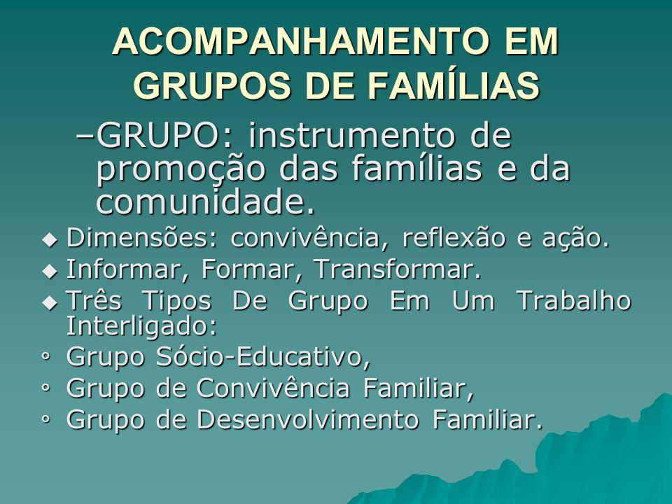 ACOMPANHAMENTO EM GRUPOS DE FAMÍLIAS –GRUPO: instrumento de promoção das famílias e da comunidade. Dimensões: convivência, reflexão e ação. Dimensões: