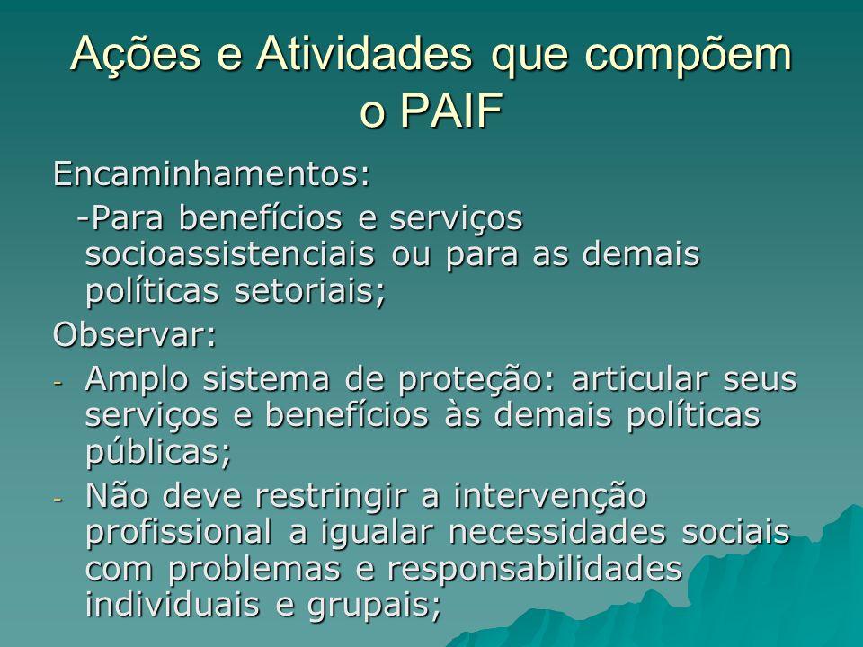 Ações e Atividades que compõem o PAIF Encaminhamentos: -Para benefícios e serviços socioassistenciais ou para as demais políticas setoriais; -Para ben