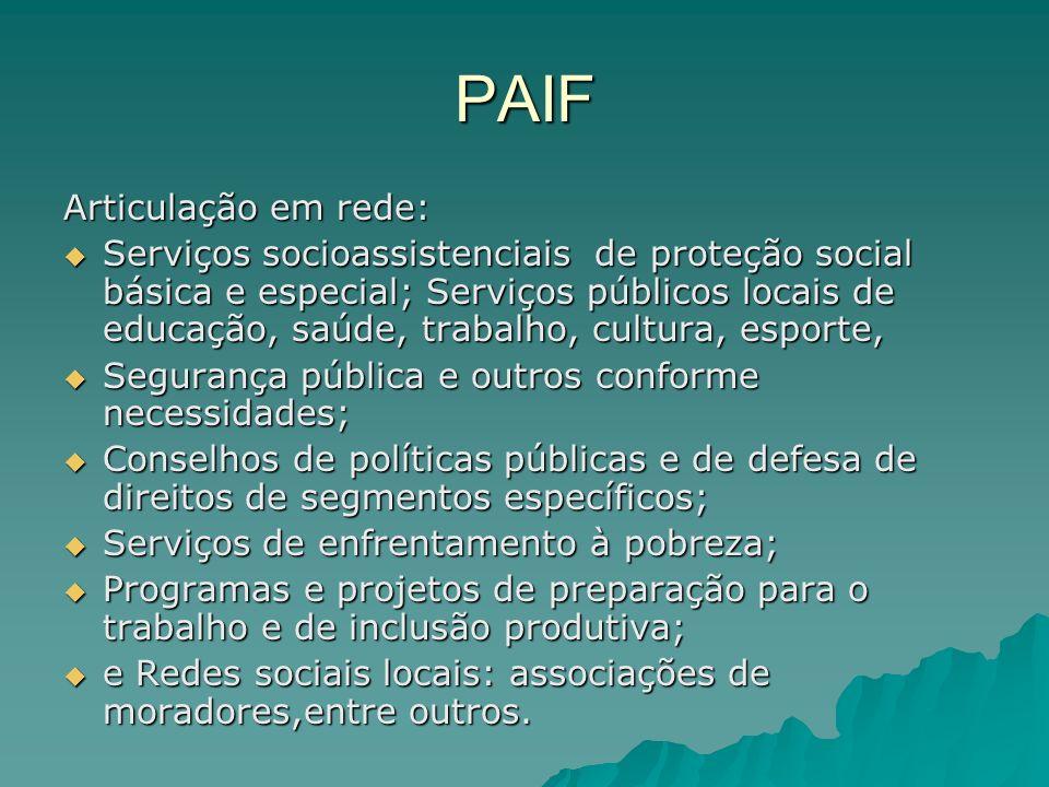 PAIF Articulação em rede: Serviços socioassistenciais de proteção social básica e especial; Serviços públicos locais de educação, saúde, trabalho, cul