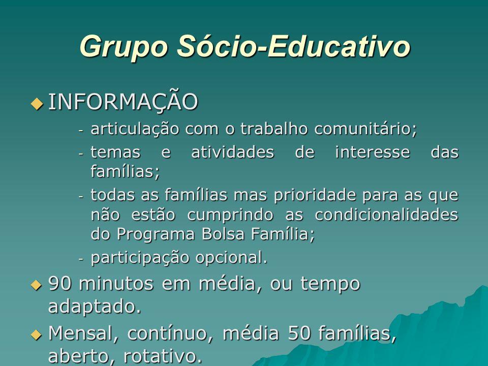 Grupo Sócio-Educativo INFORMAÇÃO INFORMAÇÃO - articulação com o trabalho comunitário; - temas e atividades de interesse das famílias; - todas as famíl