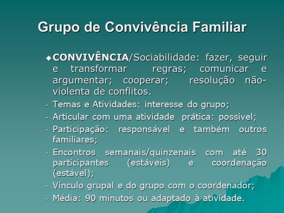 Grupo de Convivência Familiar CONVIVÊNCIA/Sociabilidade: fazer, seguir e transformar regras; comunicar e argumentar; cooperar; resolução não- violenta