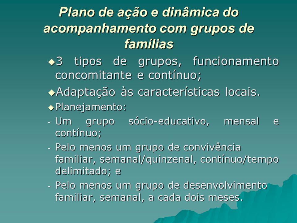 Plano de ação e dinâmica do acompanhamento com grupos de famílias 3 tipos de grupos, funcionamento concomitante e contínuo; 3 tipos de grupos, funcion