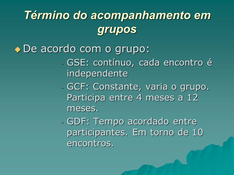 Término do acompanhamento em grupos De acordo com o grupo: De acordo com o grupo: - GSE: contínuo, cada encontro é independente - GCF: Constante, vari