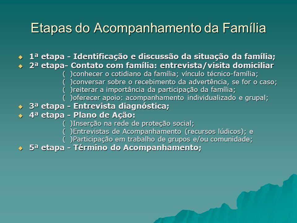 Etapas do Acompanhamento da Família 1ª etapa - Identificação e discussão da situação da família; 1ª etapa - Identificação e discussão da situação da f