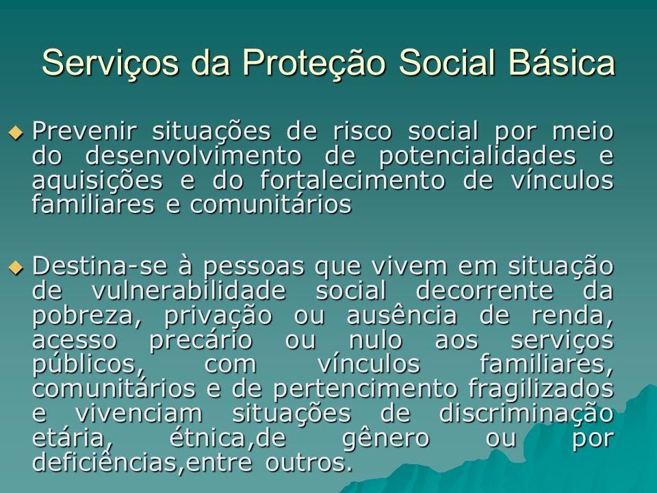 Serviços da Proteção Social Básica Prevenir situações de risco social por meio do desenvolvimento de potencialidades e aquisições e do fortalecimento
