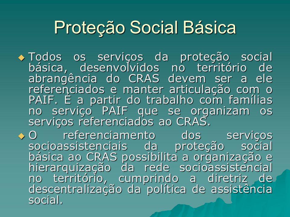 Proteção Social Básica Todos os serviços da proteção social básica, desenvolvidos no território de abrangência do CRAS devem ser a ele referenciados e