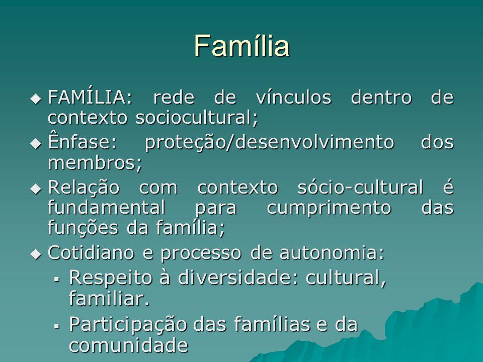 Família FAMÍLIA: rede de vínculos dentro de contexto sociocultural; FAMÍLIA: rede de vínculos dentro de contexto sociocultural; Ênfase: proteção/desen
