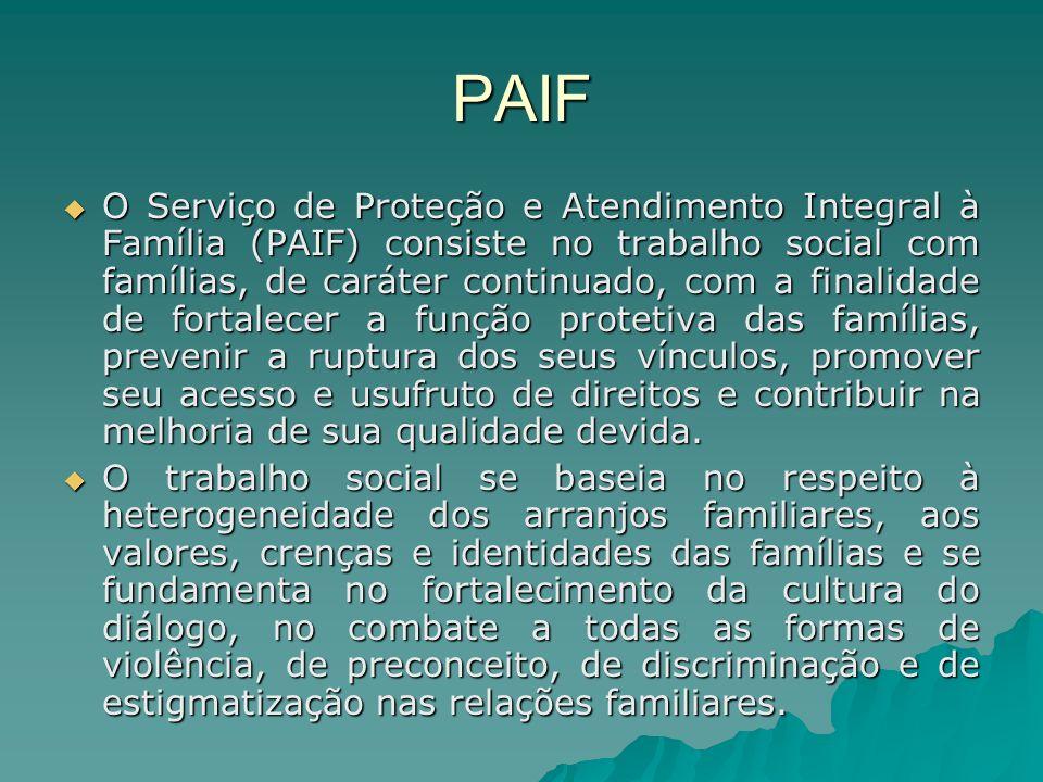 PAIF O Serviço de Proteção e Atendimento Integral à Família (PAIF) consiste no trabalho social com famílias, de caráter continuado, com a finalidade d