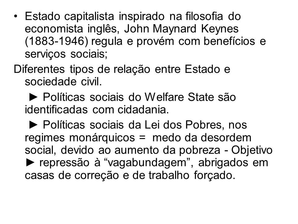 Estado capitalista inspirado na filosofia do economista inglês, John Maynard Keynes (1883-1946) regula e provém com benefícios e serviços sociais; Dif