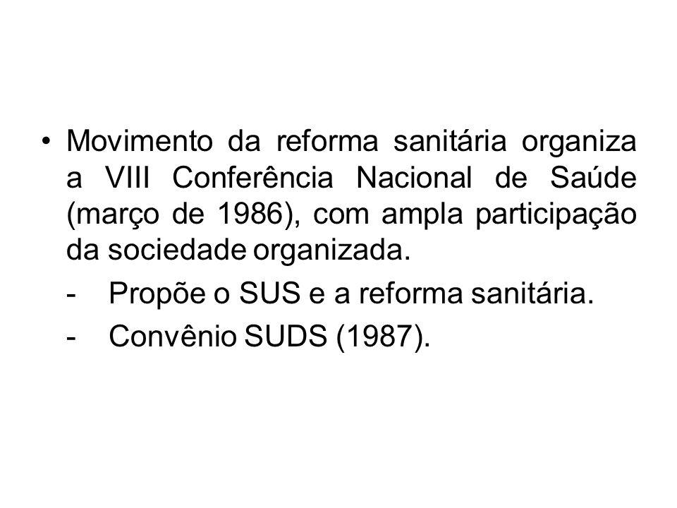 Movimento da reforma sanitária organiza a VIII Conferência Nacional de Saúde (março de 1986), com ampla participação da sociedade organizada. -Propõe