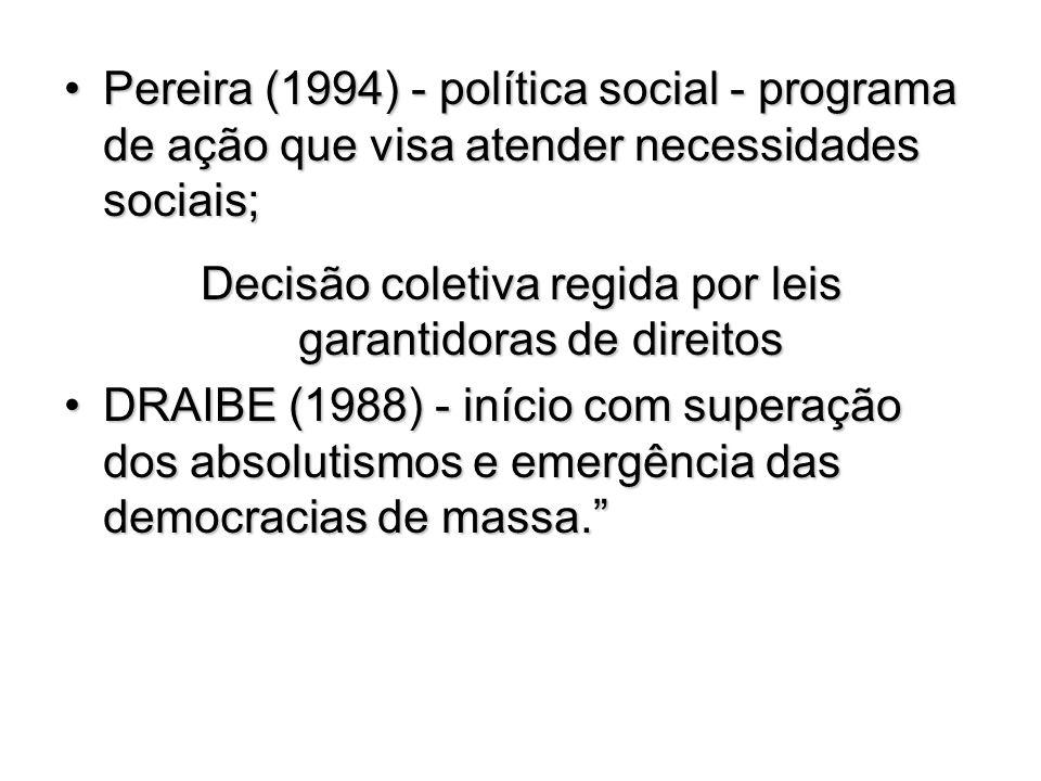 Pereira (1994) - política social - programa de ação que visa atender necessidades sociais;Pereira (1994) - política social - programa de ação que visa