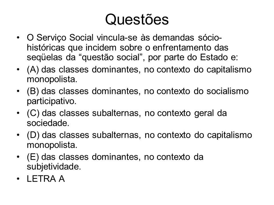 Questões O Serviço Social vincula-se às demandas sócio- históricas que incidem sobre o enfrentamento das seqüelas da questão social, por parte do Esta