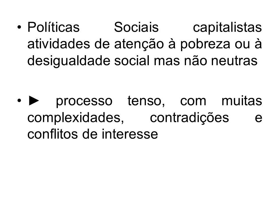 Políticas Sociais capitalistas atividades de atenção à pobreza ou à desigualdade social mas não neutras processo tenso, com muitas complexidades, cont