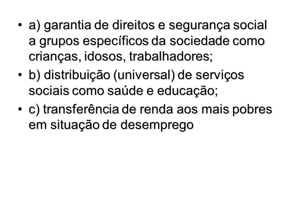 a) garantia de direitos e segurança social a grupos específicos da sociedade como crianças, idosos, trabalhadores;a) garantia de direitos e segurança