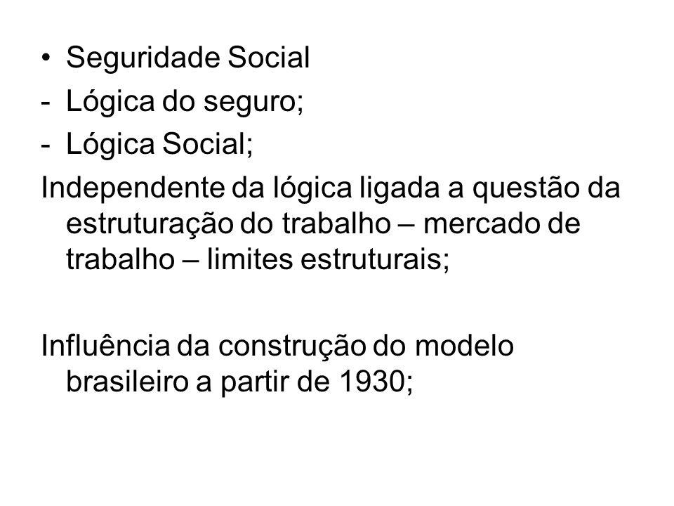 Seguridade Social -Lógica do seguro; -Lógica Social; Independente da lógica ligada a questão da estruturação do trabalho – mercado de trabalho – limit