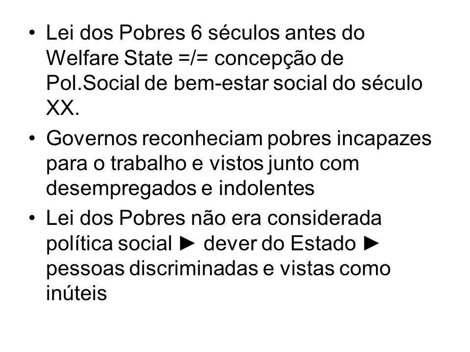 Lei dos Pobres 6 séculos antes do Welfare State =/= concepção de Pol.Social de bem-estar social do século XX. Governos reconheciam pobres incapazes pa