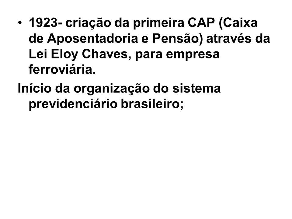 1923- criação da primeira CAP (Caixa de Aposentadoria e Pensão) através da Lei Eloy Chaves, para empresa ferroviária. Início da organização do sistema