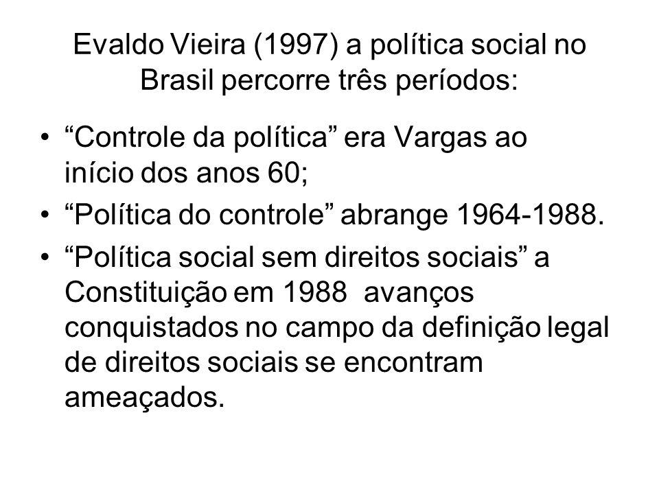 Evaldo Vieira (1997) a política social no Brasil percorre três períodos: Controle da política era Vargas ao início dos anos 60; Política do controle a