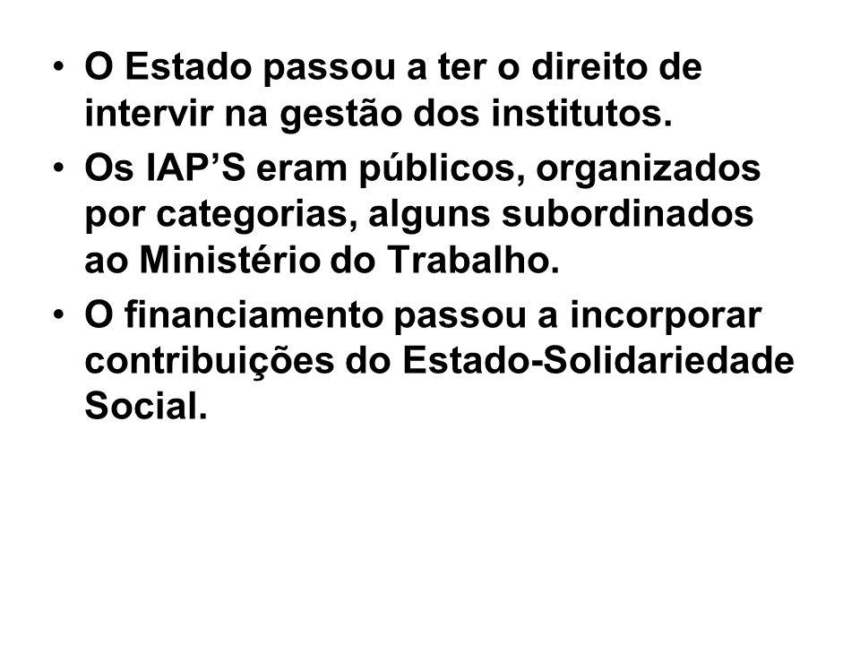 O Estado passou a ter o direito de intervir na gestão dos institutos. Os IAPS eram públicos, organizados por categorias, alguns subordinados ao Minist