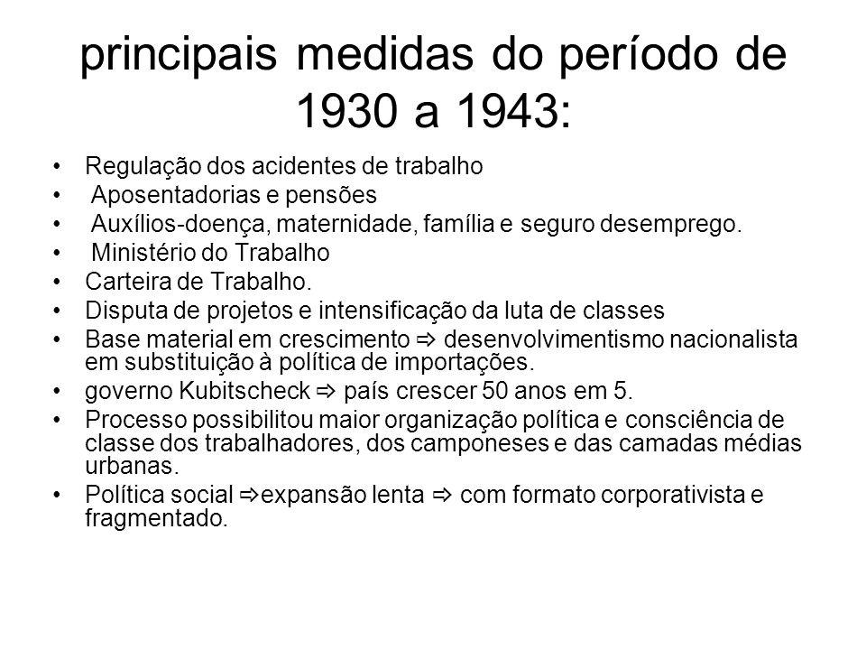 principais medidas do período de 1930 a 1943: Regulação dos acidentes de trabalho Aposentadorias e pensões Auxílios-doença, maternidade, família e seg