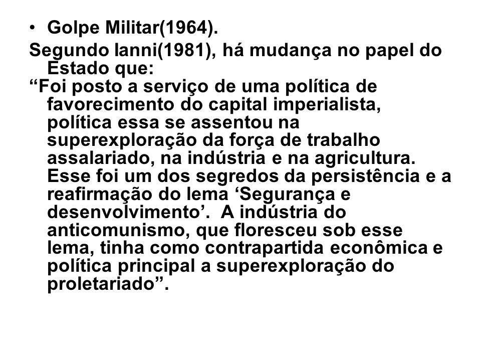 Golpe Militar(1964). Segundo Ianni(1981), há mudança no papel do Estado que: Foi posto a serviço de uma política de favorecimento do capital imperiali
