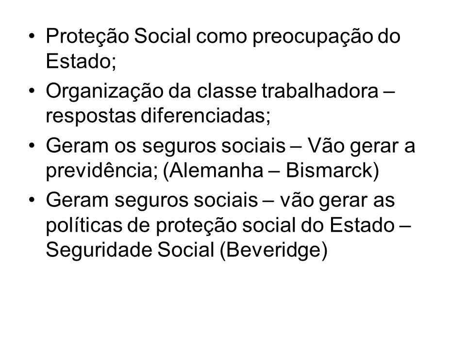 Proteção Social como preocupação do Estado; Organização da classe trabalhadora – respostas diferenciadas; Geram os seguros sociais – Vão gerar a previ