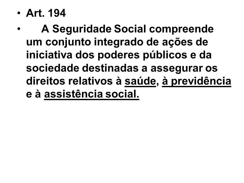Art. 194 A Seguridade Social compreende um conjunto integrado de ações de iniciativa dos poderes públicos e da sociedade destinadas a assegurar os dir