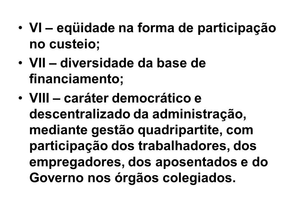VI – eqüidade na forma de participação no custeio; VII – diversidade da base de financiamento; VIII – caráter democrático e descentralizado da adminis