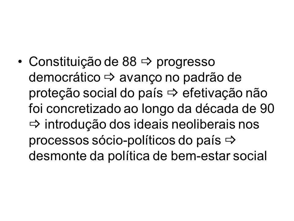 Constituição de 88 progresso democrático avanço no padrão de proteção social do país efetivação não foi concretizado ao longo da década de 90 introduç